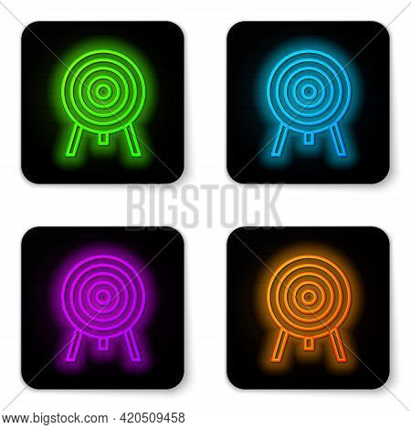 Glowing Neon Line Target Icon Isolated On White Background. Dart Board Sign. Archery Board Icon. Dar