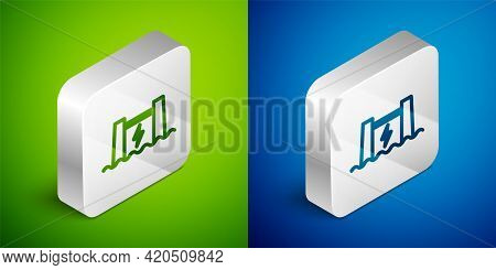 Isometric Line Hydroelectric Dam Icon Isolated On Green And Blue Background. Water Energy Plant. Hyd