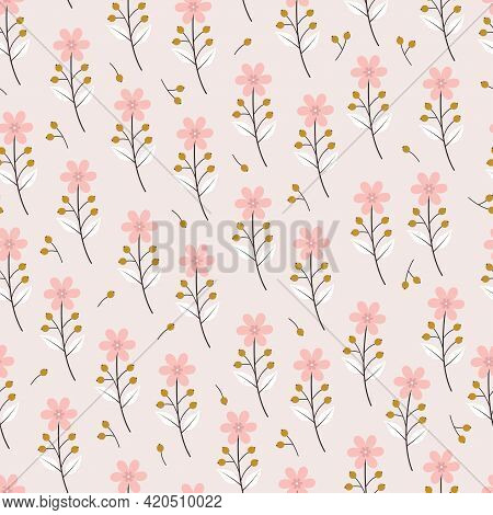 Artistic Trendy Floral Vector Seamless Pattern Design For Textile And Printing. Elegant Ditsy Floral