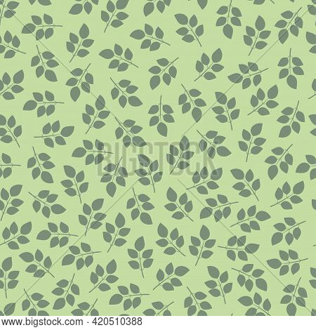 Elegant Trendy Seamless Vector Floral Ditsy Pattern Design Of Branches Of Leaves. Trendy Foliage Rep