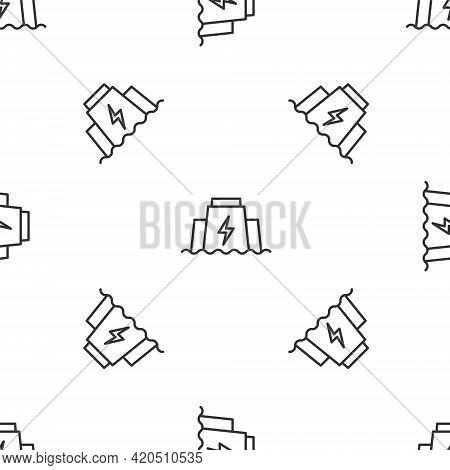 Grey Line Hydroelectric Dam Icon Isolated Seamless Pattern On White Background. Water Energy Plant.