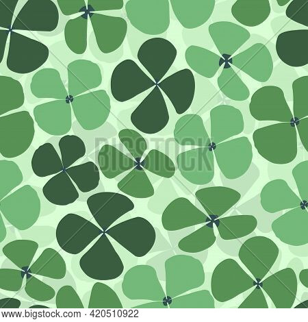 Elegant Seamless Vector Floral Ditsy Pattern Design Of Water Clover Leaves. Trendy Foliage Repeating