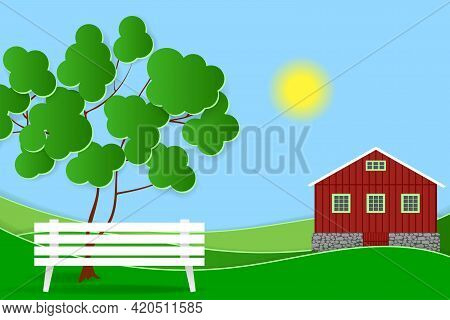 Summer Landscape. Meadow, Red House, Green Tree And White Bench