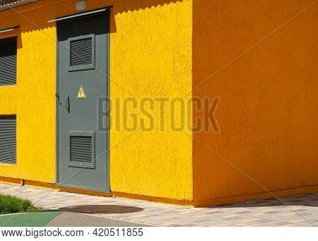 New Yellow Modern Power Electric Transformer Box. Transformer Cabinet. Outdoor Electric Control Box