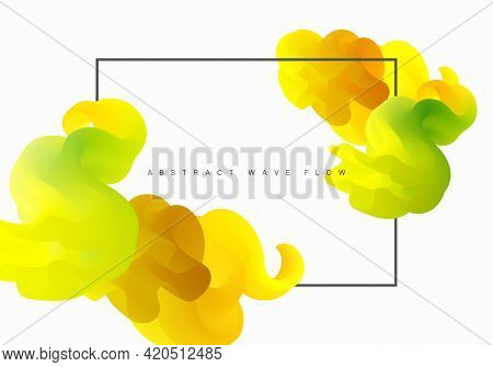 Abstract Vector Background Flowing Yellow Liquid Shapes Design Template