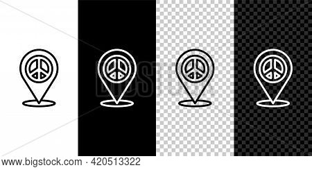 Set Line Location Peace Icon Isolated On Black And White, Transparent Background. Hippie Symbol Of P