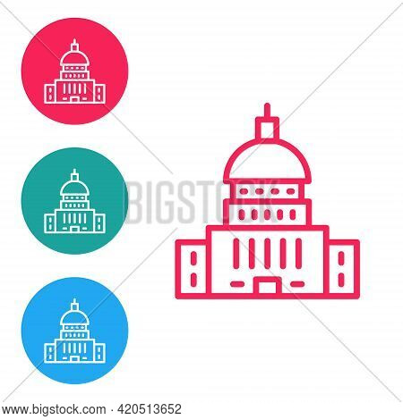 Red Line White House Icon Isolated On White Background. Washington Dc. Set Icons In Circle Buttons.