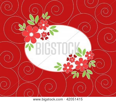 Red floral frame on spiral background