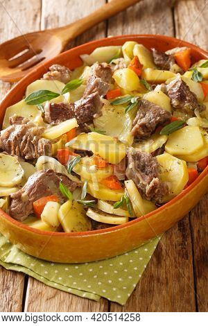 Baeckeoffe French Alsatian Stew Consisting Of Three Types Of Meat, Potatoes, Onions And Carrots Clos