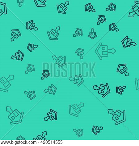 Black Line Property And Housing Market Collapse Icon Isolated Seamless Pattern On Green Background.