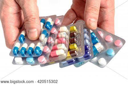 Drug Prescription For Treatment Medication.close-up Of Hand Holding Medication Blister Packs Of Tabl