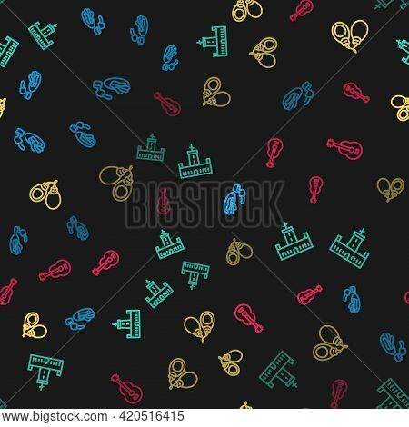 Set Line Churros And Chocolate, Montjuic Castle, Castanets And Spanish Guitar On Seamless Pattern. V