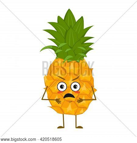 Cute Pineapple Characters With Angry Emotions, Face, Arms And Legs. The Funny Or Grumpy Food Hero, F