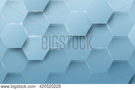 Abstract Blue Geometric Hexagon Background. Technology Digital Hi Tech With Healthcare Concept Backg