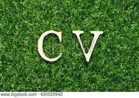 Wood Alphabet Letter In Word Cv (abbreviation Of Curriculum Vitae) On Green Grass Background
