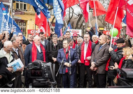 Subotica, Serbia - March 27, 2016:  Ivica Dacic, Former Serbian Minister Of Foreign Affairs, Current