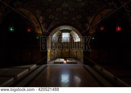 Topola, Serbia - May 27, 2017: Selective Blur On Tombs Of Serbian Kings And Queens In The Crypt Of T