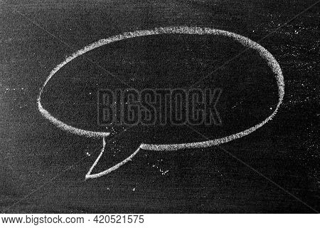 White Color Chalk Hand Drawing In Round Bubble Speech Shape With Blank Space On Blackboard Or Chalkb
