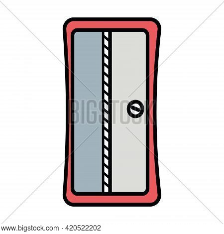 Pencil Sharpener, Office Stationery Color Isolated Vector In Flat Style