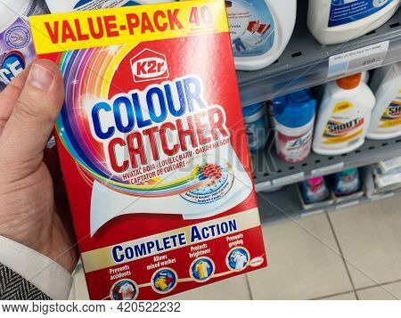 Belgrade, Serbia - May 3, 2021: K2r Colour Catcher Logo On A Box Of Wipes. K2r Colour Catcher Is A B
