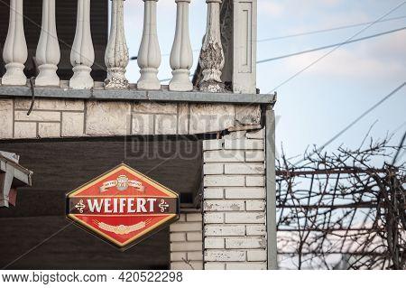Belgarde, Serbia - February 28, 2021: Logo Of Weifert Pivo Beer On A Bar Selling It. Weifert Pivo Wa