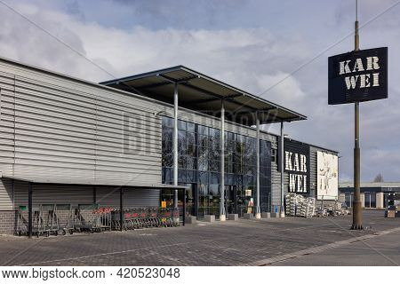 Emmeloord, The Netherlands - May 5, 2021: Industrial Park With Facade Of Karwei Lumberyard