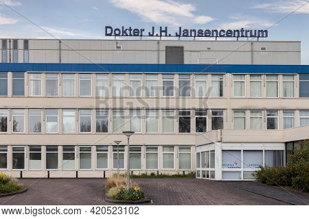 Emmeloord, The Netherlands - May 5, 2021: Facade Hospital Building In Dutch Village Emmeloord