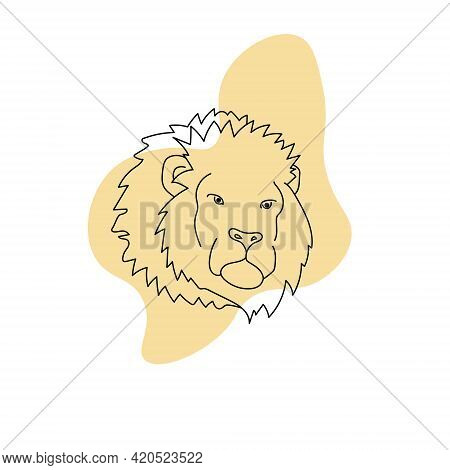 Lion Line Art On An Abstract Spot, Portrait Of A Predatory Feline With A Large Mane Vector Illustrat