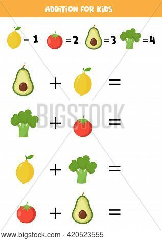 Addition For Kids With Cartoon Fruits And Vegetables.