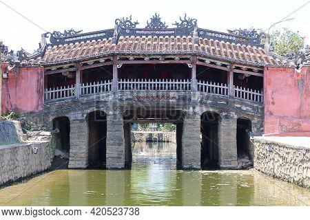 Hoi An, Vietnam, May 15, 2021: Chua Cau Bridge. Known As The Japanese Bridge In Hoi An, Vietnam. One