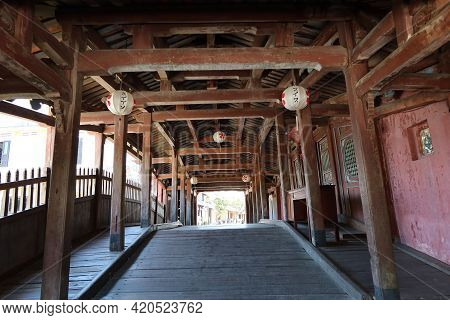Hoi An, Vietnam, May 15, 2021: Inside Passage Of The Japanese Bridge In Hoi An, Vietnam. One Of The
