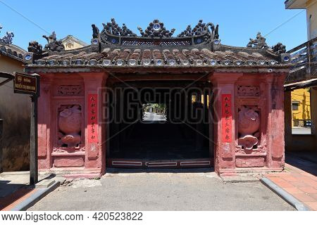 Hoi An, Vietnam, May 15, 2021: North Entrance Of The Japanese Bridge In Hoi An, Vietnam. One Of The