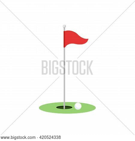 Red Golf Pennant Isolated On White Background. Golf Hole Icon. Golf Equipment. Vector Stock
