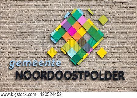 Emmeloord, The Netherlands - May 5, 2021: Logo At Facade Modern City Hall Dutch Village Emmeloord