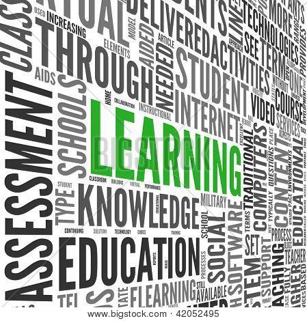 Conceito de aprendizagem e educação em 3d palavra tag cloud em branco