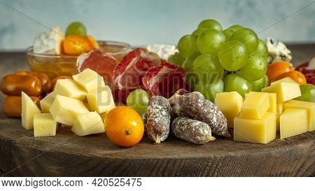 Charcuterie Board With Ham Cheese And Grape Close Up, Wine Platter, Selective Focus