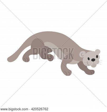 Cartoon Cat Otter On The Hunt. Wildlife, Exotic Fauna, River Dweller. Happy Animal, Cute Character,