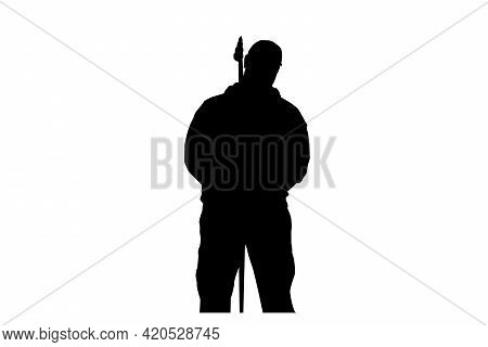 Silhouette Of A Singer With A Microphone Stand Against A White Background. A Man Standing Up To Perf