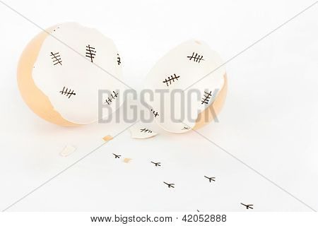 Broken Egg Shell With Tally Marks Inside And Chick Footprints