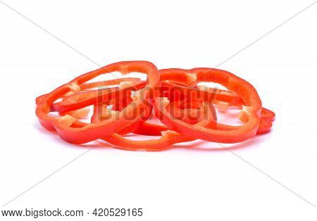 Red Pepper Slices On White Background. Red Pepper Slices