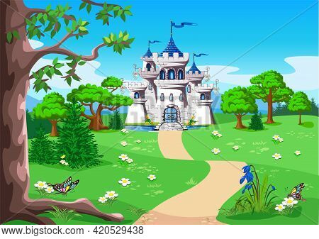 Fairy Tale Landscape With A Path Leading To The Castle For The Beautiful Princess And Prince With To