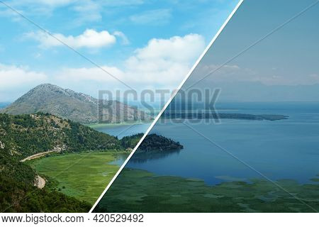 Photo Before And After Retouch, Collage. Picturesque View Of Beautiful Cove On Sunny Day