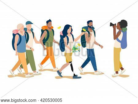 Vector Illustration Friends Go Hiking With Girlfriend With Prosthetic Leg. Boys And Girls Travel And