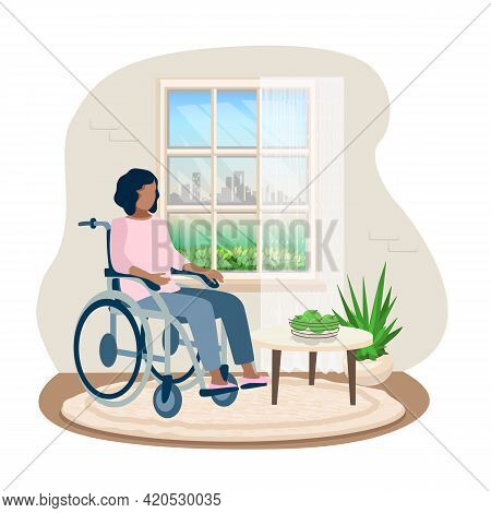 Disabled Young Girl In A Wheelchair In Her Room Looks Out The Window. Disability And Psychology Vect