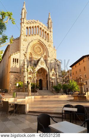 Cathedral Church In Old Town Of Soller, Spain