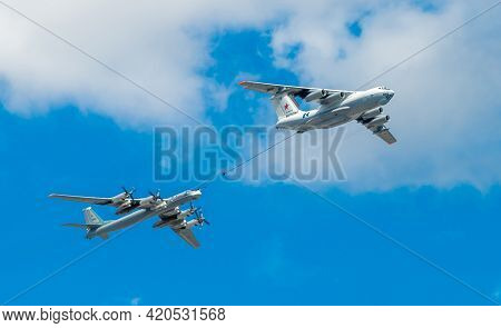 May 7, 2021, Moscow, Russia. An Il-78 Tanker Plane And A Tu-95ms Strategic Bomber Over Red Square In