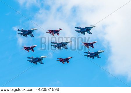 May 7, 2021, Moscow, Russia. The Cuban Diamond Formation Consists Of Mig-29 And Su-30sm Fighters Of