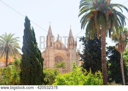 Cathdral Church Rose Window In Palma De Majorca Capital Of Majorca, Spain, Balearic Islands