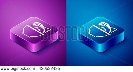 Isometric Served Fish On A Bowl Icon Isolated On Blue And Purple Background. Square Button. Vector