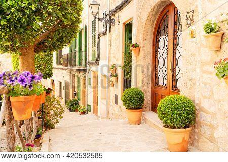 Street In Old Town Of Valdemossa, Majorca, Spain